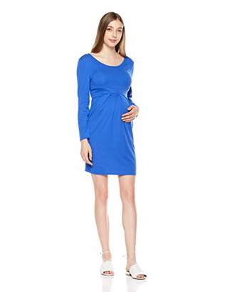 StarMomee Women's Knee Length Bodyon Pregnancy Baby Shower Front Pleated Long Sleeve Midi Maternity Dress(