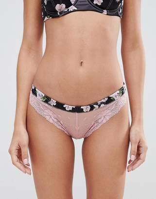 Asos DESIGN Abigail Floral & Lace Hipster Bikini Bottom