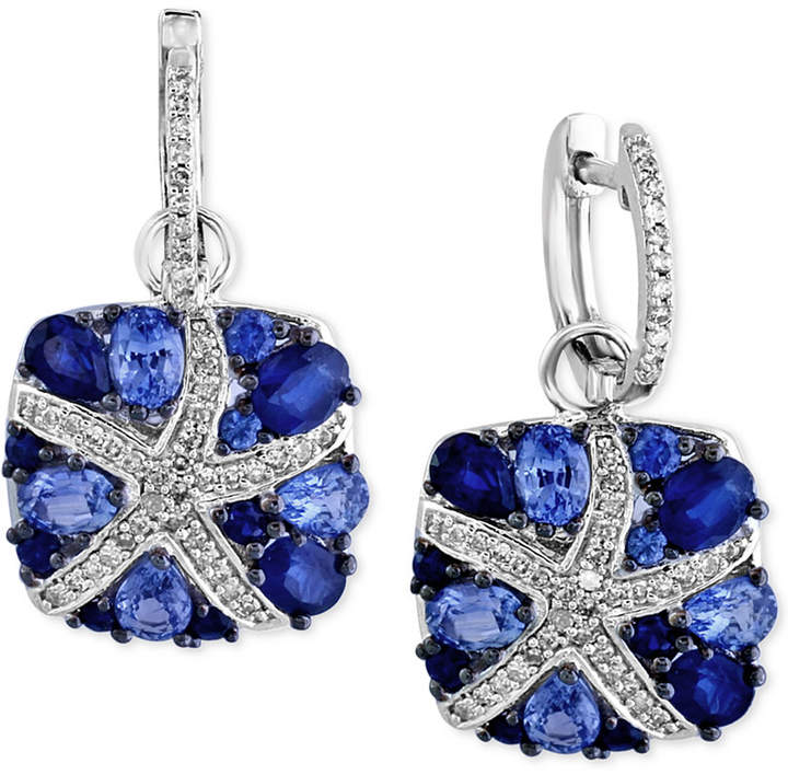 Effy EFFYandreg; Final Call Ceylon Sapphire (3-7/8 ct. t.w.) and Diamond (1/4 Ct. t.w.) Starfish Drop Earrings in 14k White Gold