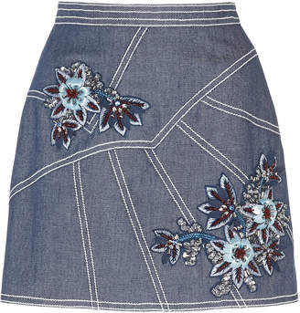 Andrew Gn Floral-Embroidered Denim Skirt