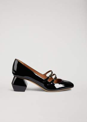 Emporio Armani Mary Jane In Nappa Leather With Patent Hexagonal Heel