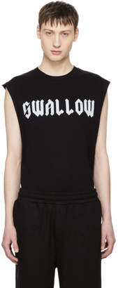 McQ Black Sleeveless Swallow T-Shirt