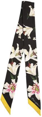 Dolce & Gabbana (ドルチェ & ガッバーナ) - DOLCE & GABBANA スモール リリープリント シルクボウタイスカーフ
