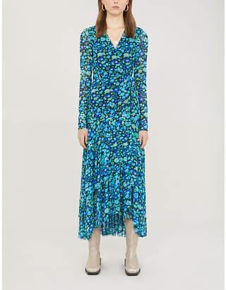 Ganni Floral-print wrap over stretch-mesh maxi dress