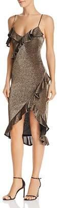 LIKELY Evangeline Ruffled Asymmetric Metallic Dress