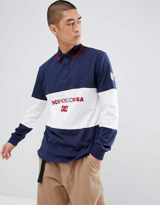 DC Cut & Sew Rugby Shirt in Navy