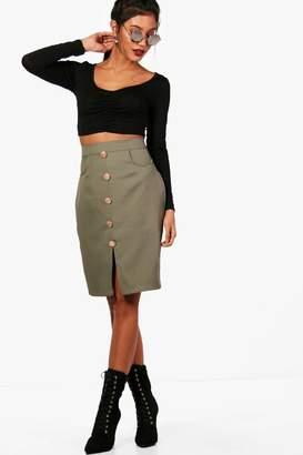 boohoo Rosie Woven Button & Pocket Midi Skirt