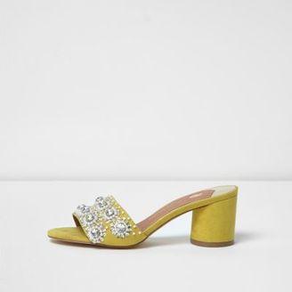 River Island Womens Yellow diamante embellished block heel mules