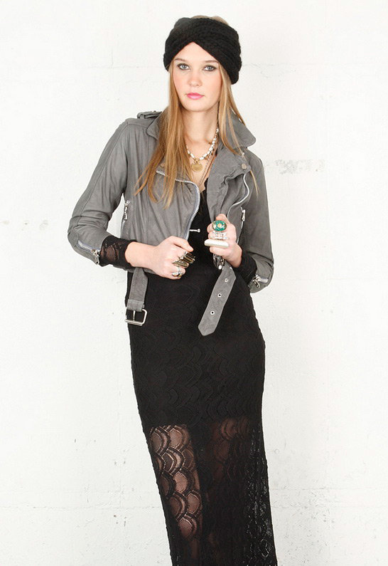 Cropped Leather Moto Jacket in Grey  - by Doma