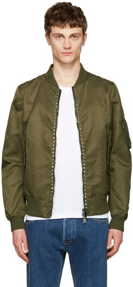 Valentino Green 'Rockstud Untitled' 15 Bomber Jacket $2,450 thestylecure.com