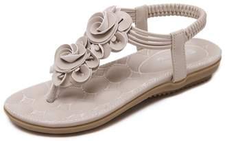 AVENBER Women's Floral Open Toe Flats Thong Sandal Casual Dress Summer Flip Flop T-Strap Shoe
