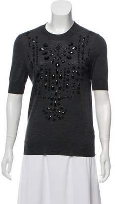 Lanvin Embellished Short Sleeve Sweater