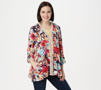 Logo By Lori Goldstein LOGO by Lori Goldstein Print Rayon 230 Cardigan with Lace & Ruffles