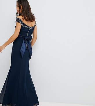 Bardot Maya Petite Sequin Detail Maxi Dress With Bow Back Detail