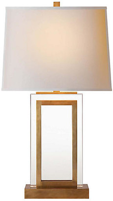 Visual Comfort & Co. Crystal Panel Table Lamp - Antiqued/Burnished Brass