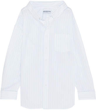 Balenciaga Oversized Striped Cotton-jacquard Shirt - White