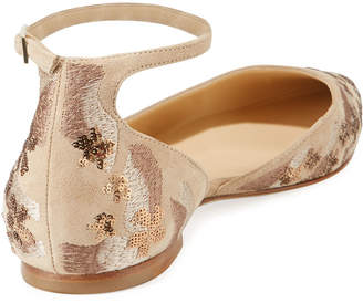 Jimmy Choo Lucy Sequined Suede Flats