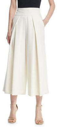 Milly Italian Cady Pleated Wide-Leg Culottes, White $375 thestylecure.com