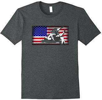 American Flag Wrestling Grappling T-shirt