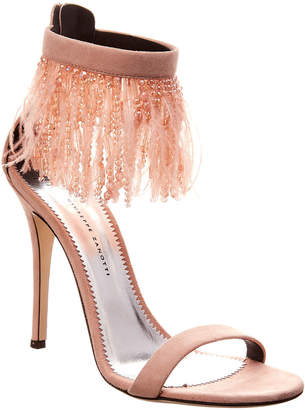 Giuseppe Zanotti Feather Embellished Suede Ankle-Strap Sandal