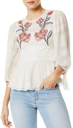 Karen Millen Embroidered Peplum Top