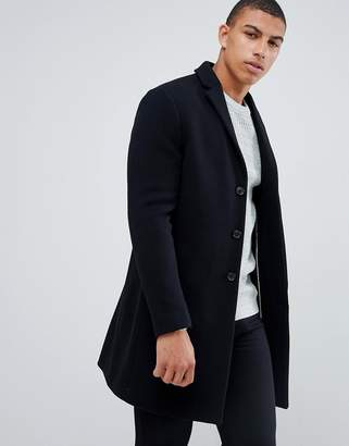 f022f20c4 Selected recycled wool overcoat in black