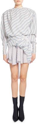 Balenciaga Ruched College Stripe Jacquard Dress, White Pattern