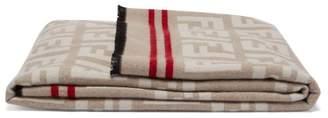 Fendi Ff Logo Wool Blend Blanket - Beige