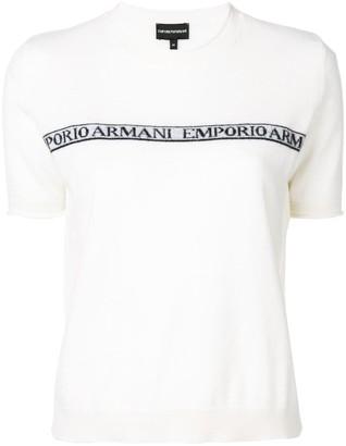 Emporio Armani logo intarsia shortsleeved jumper