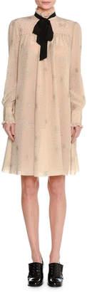 Tomas Maier Metallic-Print Silk Tie-Neck Dress