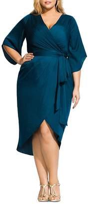City Chic Plus Opulent Faux-Wrap Midi Dress