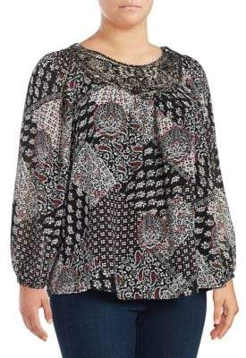 Context Plus Mixed Patterned Long Sleeved Blouse