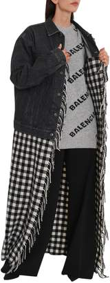 Balenciaga Denim Jacket With Checked Blanket Bottom