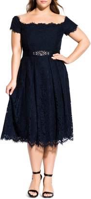 City Chic Off the Shoulder Lace Dreams Midi Dress