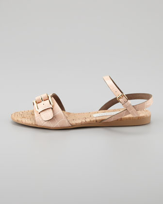 Stella McCartney Faux-Crocodile Cork Flat Sandal, Nude