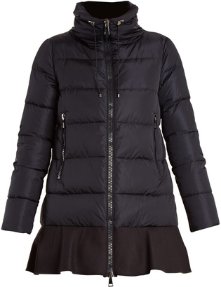 MONCLER Viburnum ruffled-hem quilted down coat $1,275 thestylecure.com