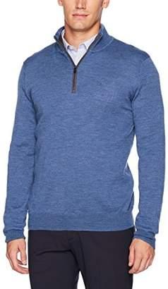 Calvin Klein Men's Merino End Check Quarter Zip Sweater
