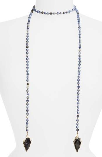 Love's Affect Knotted Semiprecious Wrap Necklace
