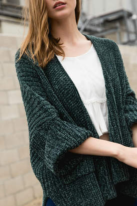 POL Cable knit slouch cardigan with wide 3/4 sleeves
