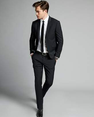 Express Extra Slim Black Performance Stretch Wool-Blend Suit Pant