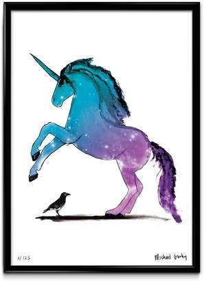 Michael Gurhy - Unicorn With Crow Giclée Fine Art Print