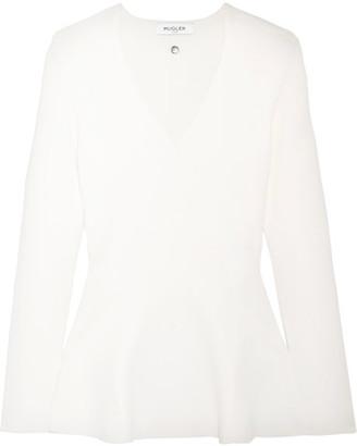 Mugler - Stretch-knit Peplum Top - White $835 thestylecure.com