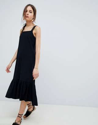 Asos Design Square Neck Drop Hem Midi Sundress