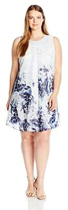 Calvin Klein Women's Plus Size Printed Inverted Pleat Dress