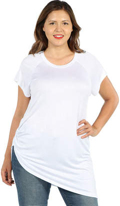 24/7 Comfort Apparel Zola Asymmetric Short Sleeve Tee - Plus