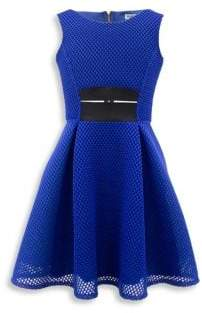 David Charles Girl's Mesh Fit-And-Flare Dress