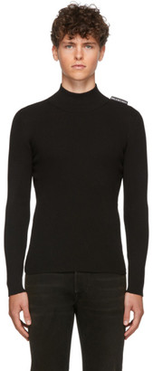 Balenciaga Black Silk Rib Knit Turtleneck