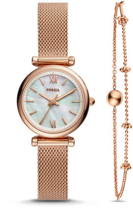 Fossil Carlie Mini Three-Hand Rose Gold-Tone Stainless Steel Watch And Bracelet Box Set