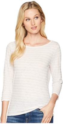 Three Dots Saguaro Stripe 3/4 Sleeve British T-Shirt Women's T Shirt