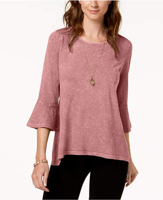 Style&Co. Style & Co Petite Cotton Bell-Sleeve Top, Created for Macy's